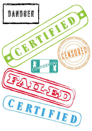 Rubber stamps, stickers, labels, signs and symbols clipart in vector Stock Vector - 9478384