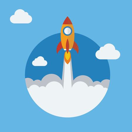 caricatura mosca: Rocket icono de diseño plano. La puesta en marcha del proyecto - concepto de lanzamiento. Ilustración del vector. Vectores