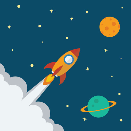 kickoff: Rocket icon with space planet background flat design. Project start up - launch concept. Vector illustration. Illustration