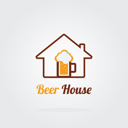 steins: House beer logo concept. Brewery logo with A mug of beer.