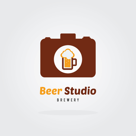 steins: Brewery logo with A mug of beer. Beer concept.