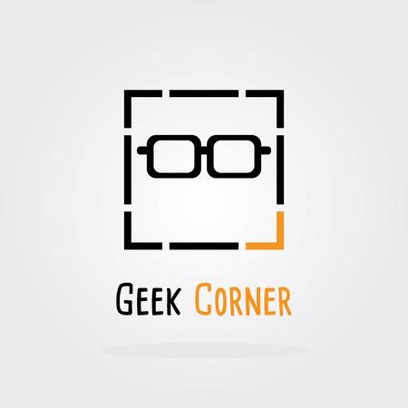 Geek Corner, geek logo, Vector Logo Template. Illustration
