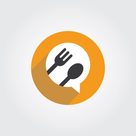 Food Talk logo concept with spoon and fork icon. Logo for cooking,cafe communication and menu. Logo
