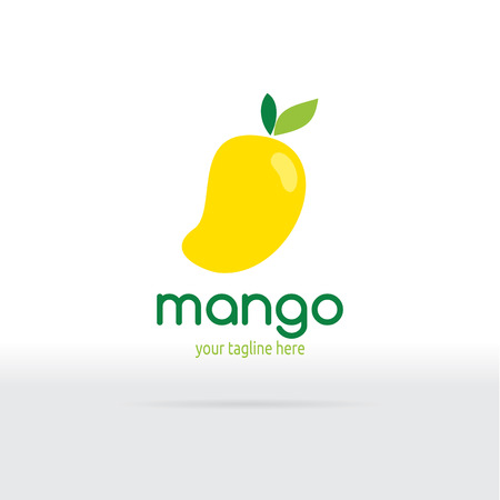 Mango Logo Flat Design. Fruit Vector illustration.