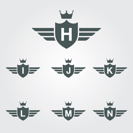 Shield With Wings And Crown Vector Logo Template - Letter H, I ,J, K, L, M, N. Illustration