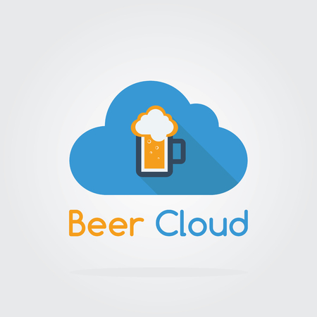 Beer Cloud Logo Concept. A mug of beer. Brewery Vector illustration. Draft beer. Icon for food, chef, lunch, dinner, menu sign.