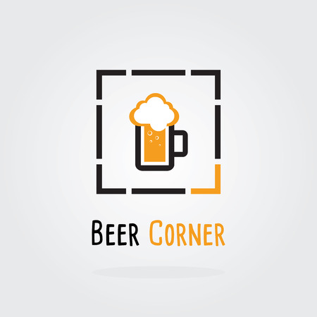and draft beer: Beer Corner Logo Concept.A mug of beer. Brewery Vector illustration. Draft beer. Icon for food, chef, lunch, dinner, menu sign.