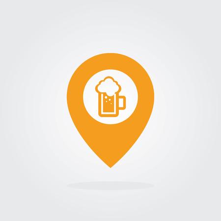 Beer Map Pointer Icon. Location pointer symbol. Flat Design vector.
