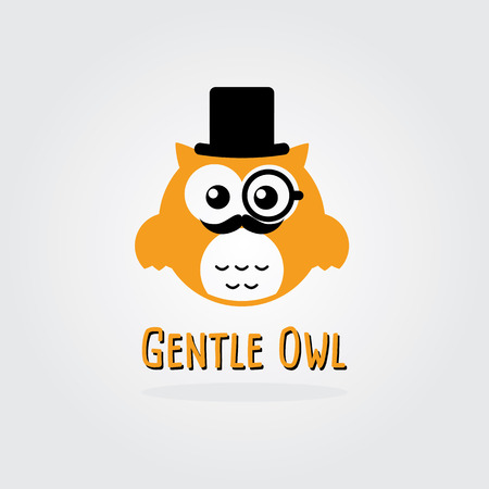 Gentleman Owl Vector Logo Template. Cooking cap. cooking logo.
