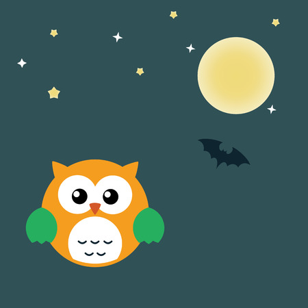 angel cemetery: Halloween Owl. Flat design vector illustration .Background for Halloween party night. Stock vector.