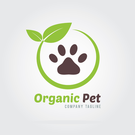 Organic Pet Logo. Icons for organic and pet products.