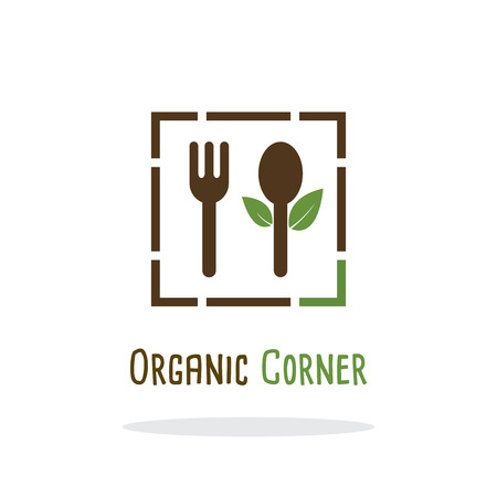 fresh food: Organic green fresh and clean food. Vector illustration flat logo design. Fork and Spoon icon.