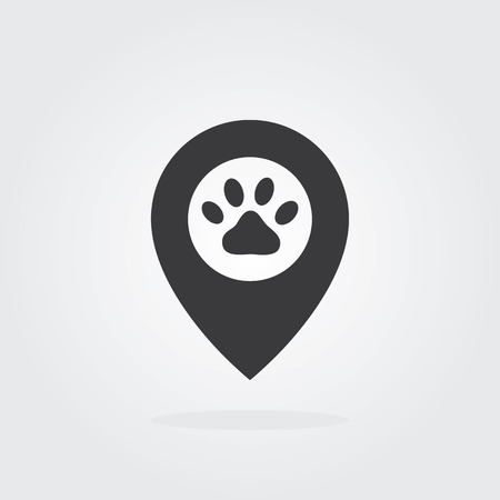 Pet logo cloud concept with paw icon. Vector for pet shop or hotel. Illustration