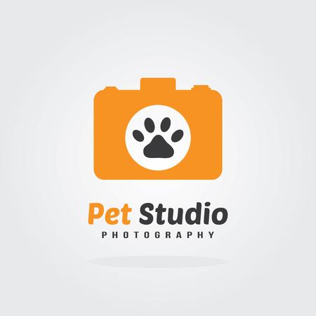 pet photography: Camera Icon, pet photography concept, logo design. Vector for pet shop or hotel.