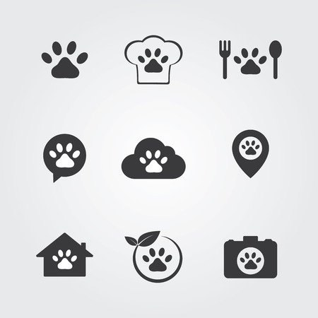 nurse home: Pets icons set for vet, pet shop, pet house and pet clinic. Illustration