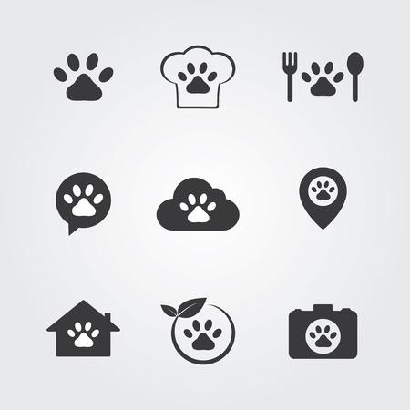 love my house: Pets icons set for vet, pet shop, pet house and pet clinic. Illustration