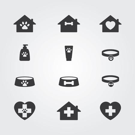 poo: Pets icons set for vet, pet shop, pet house and pet clinic. Illustration
