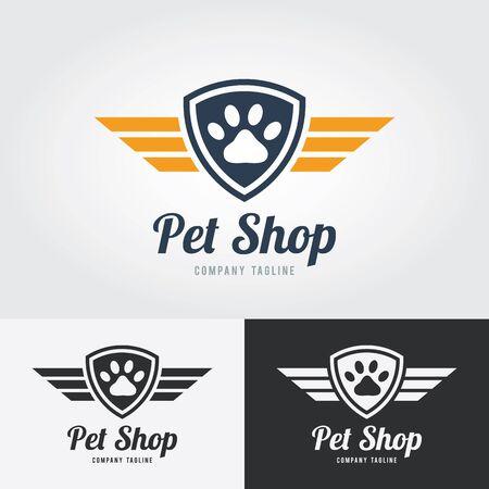 Animalerie logo modèle. patte imprimé animal Icône avec le bouclier et les ailes. Vecteur pour pet shop, hôtel, clinique vétérinaire. Logo