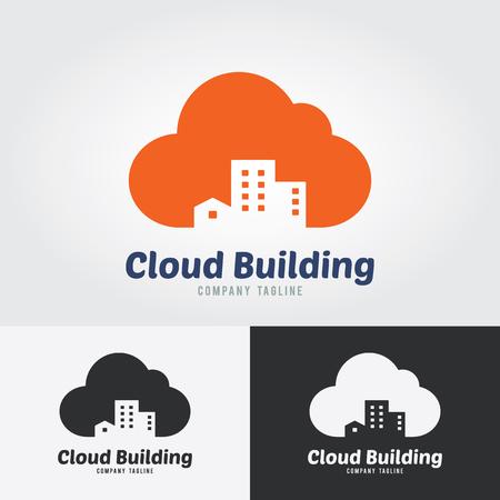 Cloud Building Logo. Mortgage Real Estate logo design business.