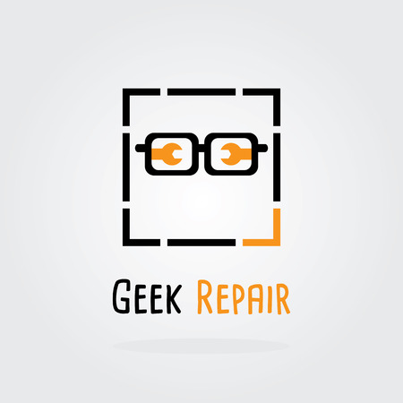 computer repair technician: Geek Repair Logo. Logotype for repair or service and maintenance business. Corporate icon template with glasses and tools.