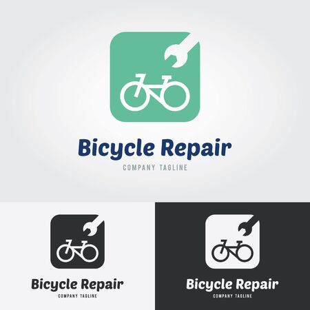 Bike Shop and Bicycle Repair Logo. Bicycle Brand identity, Cyclist Brand. Ilustrace
