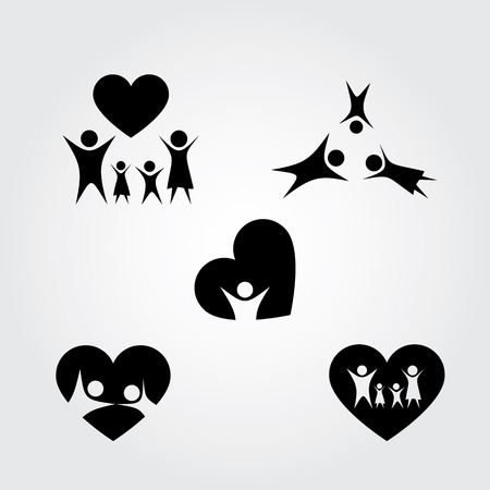 father and son holding hands: Happy Family icons set