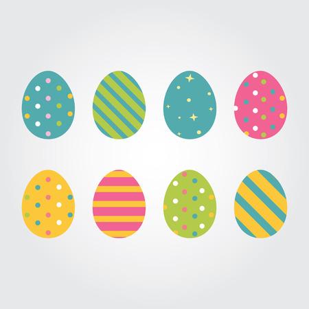 Huevos de Pascua. Ilustración del vector. huevos de Pascua de vectores iconos de estilo plano. Huevos de Pascua aislados del vector. Huevos de Pascua para las vacaciones Pascua diseño. Huevos de Pascua aislados sobre fondo blanco.