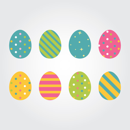 huevo caricatura: Huevos de Pascua. Ilustraci�n del vector. huevos de Pascua de vectores iconos de estilo plano. Huevos de Pascua aislados del vector. Huevos de Pascua para las vacaciones Pascua dise�o. Huevos de Pascua aislados sobre fondo blanco. Vectores