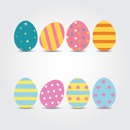 egg white: Easter eggs. Vector illustration. Easter eggs vector icons flat style. Easter eggs isolated vector. Easter eggs for Easter holidays design. Easter eggs isolated on white background.