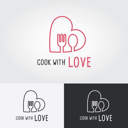 사랑 로고 템플릿으로 요리. 요리 로고. 평면 디자인 벡터 일러스트 레이 션. 음식 아이콘입니다. 일러스트