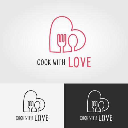 master chef: Cook with Love logo template. cooking logo. Flat design vector illustration. Food icon. Illustration