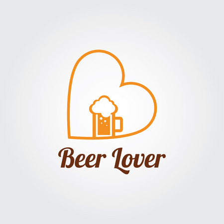 Brewery logo with A mug of bee. Beer Lover concept.