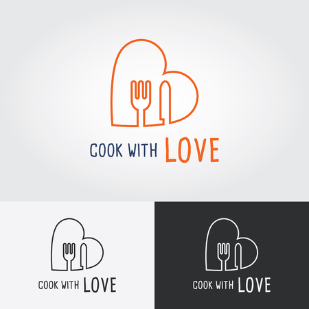 love icon: Cook with Love logo template. cooking logo. Flat design vector illustration. Food icon. Illustration