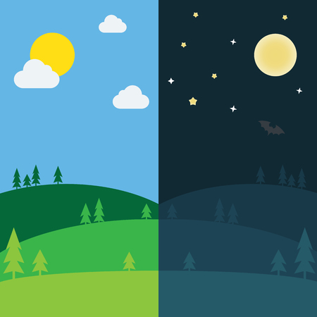 equinox: Equinox half day half night. Day and Night background with lanscape vector illustration
