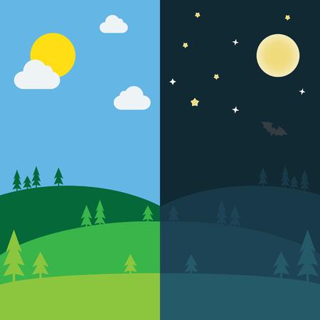 Equinoxe demi journée demi nuit. Jour et nuit fond avec illustration vectorielle de paysage