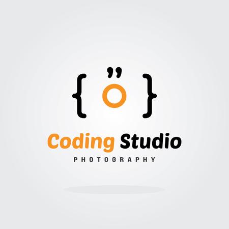 software company: Coding Studio Logo Design Template - Camera concept. Software company logo template design. Vector illustration. Software development, Software application, Mobile application development. Illustration