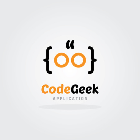 logo ordinateur: Conception Geek Code Logo Template. société de logiciels de conception de logo de modèle. Vector illustration. Le développement de logiciels, l'application logicielle, le développement d'applications mobiles.