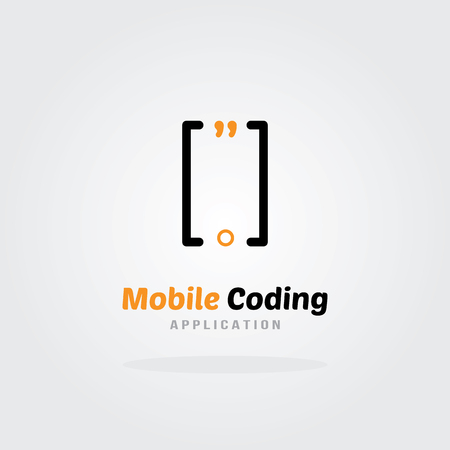 mobile application: Mobile Coding Studio Logo Design Template - Mobile phone concept. Software company logo template. Vector illustration. Software development, Software application, Mobile application development. Illustration