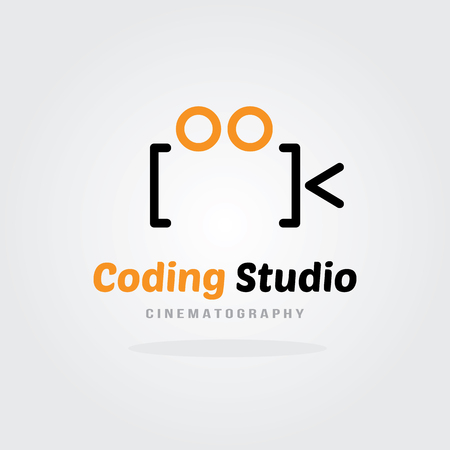 software company: Coding Studio Logo Design Template - Video Camera concept. Software company logo template design. Vector illustration. Software development, Software application, Mobile application development. Illustration