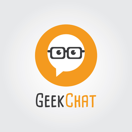 gamers: Geek Chat Logo Design. Logo template - nerd, Forum, Community, society, talk, discuss, speak, bubble,conversation. Company, brand, branding, corporate, identity, logotype. Illustration