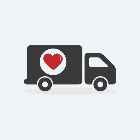 tranfer: Delivery Truck with heart love design concept for Transport, Logistics, tranfer Service.