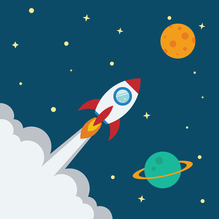 kickoff: Rocket flat design concept for Project start up and development process.Space rocketship launch.Flying rocket space travel to the planet for business innovation product,creative idea and management.