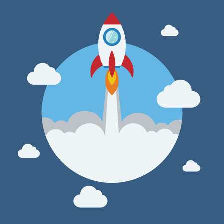 Rocket flat design concept for Project start up and development process.Space rocketship launch.Flying rocket space for business innovation product,creative idea and management.