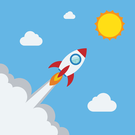 Rocket flat design concept for Project start up and development process.Space rocketship launch.Flying rocket space travel to the sun for business innovation product,creative idea and management. Illustration