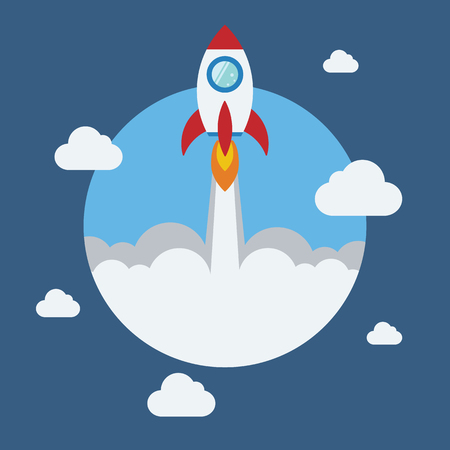 kickoff: Rocket flat design concept for Project start up and development process.Space rocketship launch.Flying rocket space travel for business innovation product,creative idea and management.