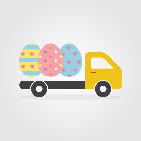 Camión de reparto con coloridos decorados huevos de Pascua ilustración vectorial diseño plano para el día de Pascua y Felices tarjetas de Pascua.