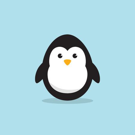 Egg Shaped Penguin Character for Easter day, Easter eggs paint. A Cute Penguin character on sky blue background Flat design vector illustration. Ilustração