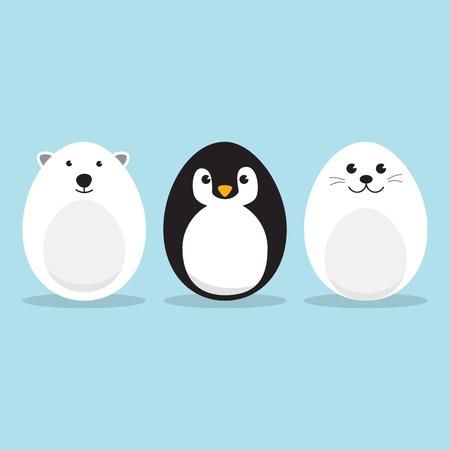 Ei-vormige arctische dieren tekenset voor Pasen dag, paaseieren verf. Een schattige ijsbeer, Penguin, Baby Seal Pup karakter op hemelsblauwe achtergrond Platte ontwerp vectorillustratie. Stock Illustratie