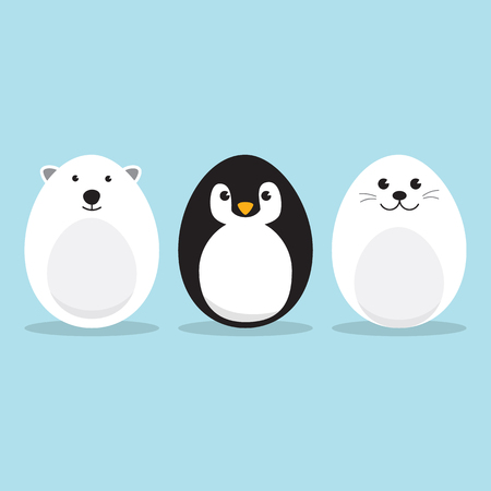 Egg Shaped arctic animals Character Set for Easter day, Easter eggs paint. A Cute Polar Bear, Penguin, Baby Seal Pup character on sky blue background Flat design vector illustration.