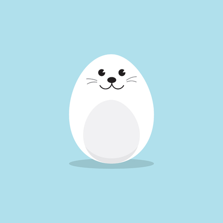 Egg Shaped Harp seal pup Character for Easter day, Easter eggs paint. A Cute Baby Seal Pup character on sky blue background Flat design vector illustration. Illustration